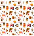 flat coffee stuff pattern seamless vector image vector image