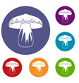 forest mushroom icons set vector image vector image