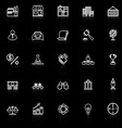 Franchise line icons with reflect on black vector image vector image