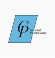 gp logo with letter g and letter p on white vector image vector image