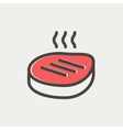 Grilled steak thin line icon vector image vector image