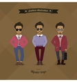 Hipster urban fashion trendy men boys colored vector image vector image