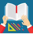 Human Hands and Book - Education Concept vector image vector image