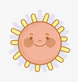 kawaii happy sun with eyes and mouth vector image vector image