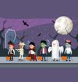 kids and halloween night vector image