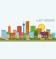 las vegas skyline with color buildings and blue vector image vector image