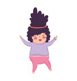 little cute girl black hair cartoon isolated icon vector image vector image
