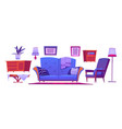 living room interior set with blue sofa vector image vector image