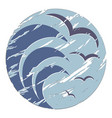 logo sea with seagulls vector image