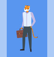 man tiger head and tail holds briefcase isolated vector image vector image