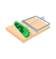 Money in a mousetrap icon cartoon style vector image