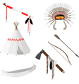 Native american set six icons vector image vector image