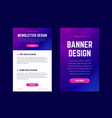 newsletter email design template and vertical vector image vector image