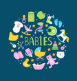 round banner or background with cute babies vector image