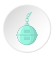 Round tea strainer icon cartoon style vector image vector image