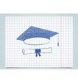 Scribble graduation cap and diploma