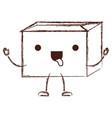 sealed kawaii animated cardboard box in monochrome vector image vector image