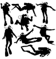 Set black silhouette scuba divers vector image