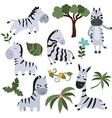 Set funny zebras vector image vector image