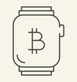 smart watch with bitcoin thin line icon bitcoin vector image