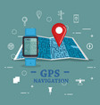 smartwatch with gps navigation app vector image vector image