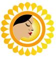Sun tan logo- A face with a bright yellow sun vector image vector image