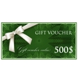 template design of green gift voucher or vector image