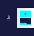 wave line circle logo mark with business card vector image vector image