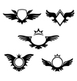 Wings shaped emblems vector image vector image