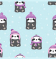 winter pattern with sloth vector image vector image