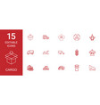 15 cargo icons vector image vector image