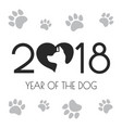 2018 new year card with dog vector image
