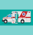 ambulance staff concept car and doctor vector image