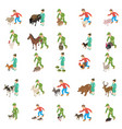 animal protection icons set isometric style vector image