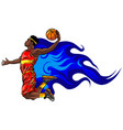 basketball player jumps to dunk vector image vector image