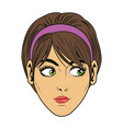 beauty face woman short hair comic style vector image vector image