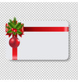 blank gift tag red ribbon bow transparent vector image vector image