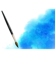 Blue watercolor stain with paintbrush vector image