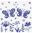 butterflies silhouette vector image