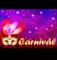 carnival poster with gold mask with rhinestones vector image vector image