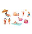 cartoon summer beach vacation symbols set vector image vector image