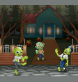 cartoon three zombie in front of the scary house vector image