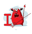 Cartoons Alphabet - Letter I with funny Imp vector image vector image