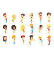 caucasian male character rejoicing set vector image vector image