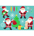 chrismas set with santa clauses candies vector image