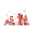 city buildings with location pins on top vector image