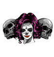 dead girl with two sugar skulls vector image vector image