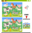 differences educational task with cartoon farm vector image vector image