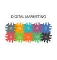 digital marketing cartoon template with flat vector image vector image