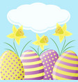 easter card with daffodils and eggs vector image vector image